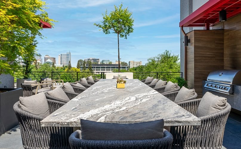 spacious table located in outdoor lounge area and surrounded by lush greenery