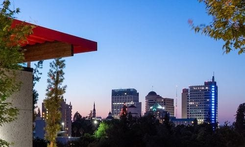 patio views of nearby downtown city